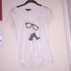 Mustache with glasses white tee shirt